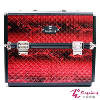 Xingxiang形向 紅蟒蛇紋手提精緻輕盈化妝箱 6K-14
