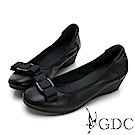 GDC-真皮基本素色金屬感緞帶蝴蝶結上班楔型鞋-黑色