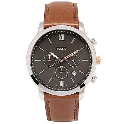 FOSSIL NEUTRA 時尚流行計時手錶 灰x咖啡錶帶-(FS5408)-44mm