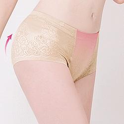 中腰無痕透氣緹花M-2XL一分提臀褲 春漾膚 可蘭霓Clany