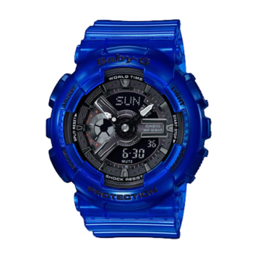 BABY-G海洋生態設計風格透明果凍色系雙顯運動錶(BA-110CR-2)藍/43.4mm @ Y!購物