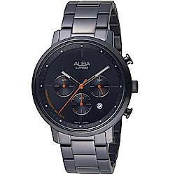 ALBA雅柏日系休閒計時腕錶(VD53-X313SD AT3E01X1)-黑