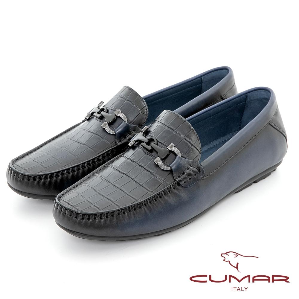【CUMAR】樂活時尚 雅痞壓紋牛皮帆船鞋-藍