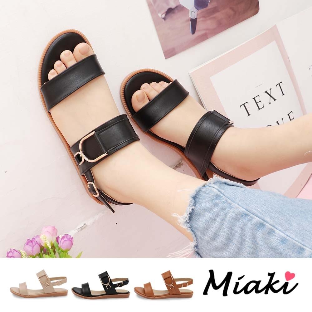 Miaki-涼鞋.韓流造型飾釦平底涼鞋 (黑色系)