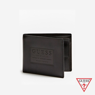 GUESS-男夾-經典LOGO時尚短夾-黑