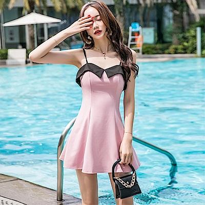 DABI 韓系時尚修身撞色顯瘦露背吊帶無袖洋裝