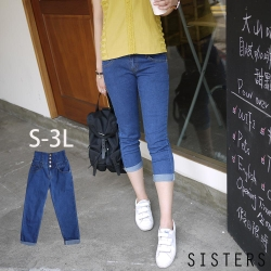 高腰收腹彈力牛仔褲(S-3L) SISTERS