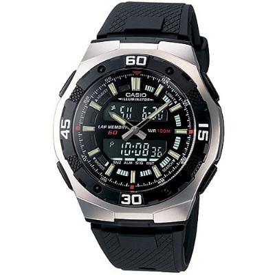 CASIO 城市遊俠運動膠帶雙顯錶-黑(AQ-164W-1A)/43.5mm