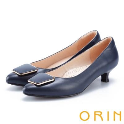 ORIN 優雅品味 梯形金屬釦環羊皮低跟鞋-藍色