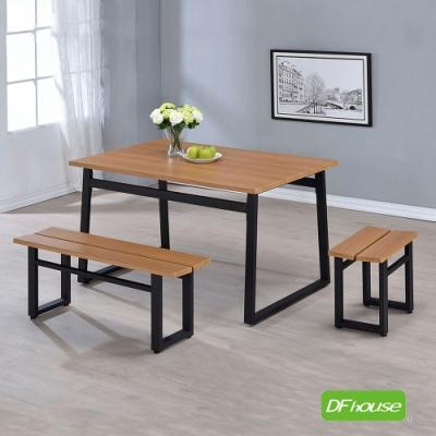 DFhouse英式工業風-餐桌+2雙人餐椅+2單人餐椅 130*80*75