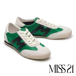 休閒鞋 MISS 21 復古色塊拼接綁帶厚底休閒鞋-綠