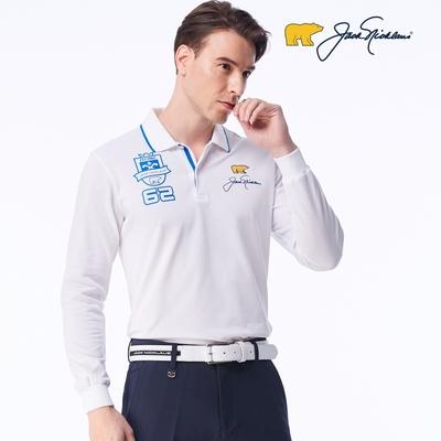 【Jack Nicklaus】GOLF男款印花吸濕排汗POLO衫-白色