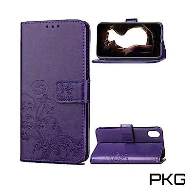 PKG Apple iPhone XR 側翻式皮套-精選皮套系列-幸運草-時尚紫