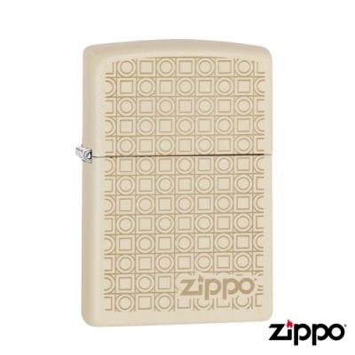 美系Zippo 方圓幾何-磨砂奶油白雷雕防風打火機#29923