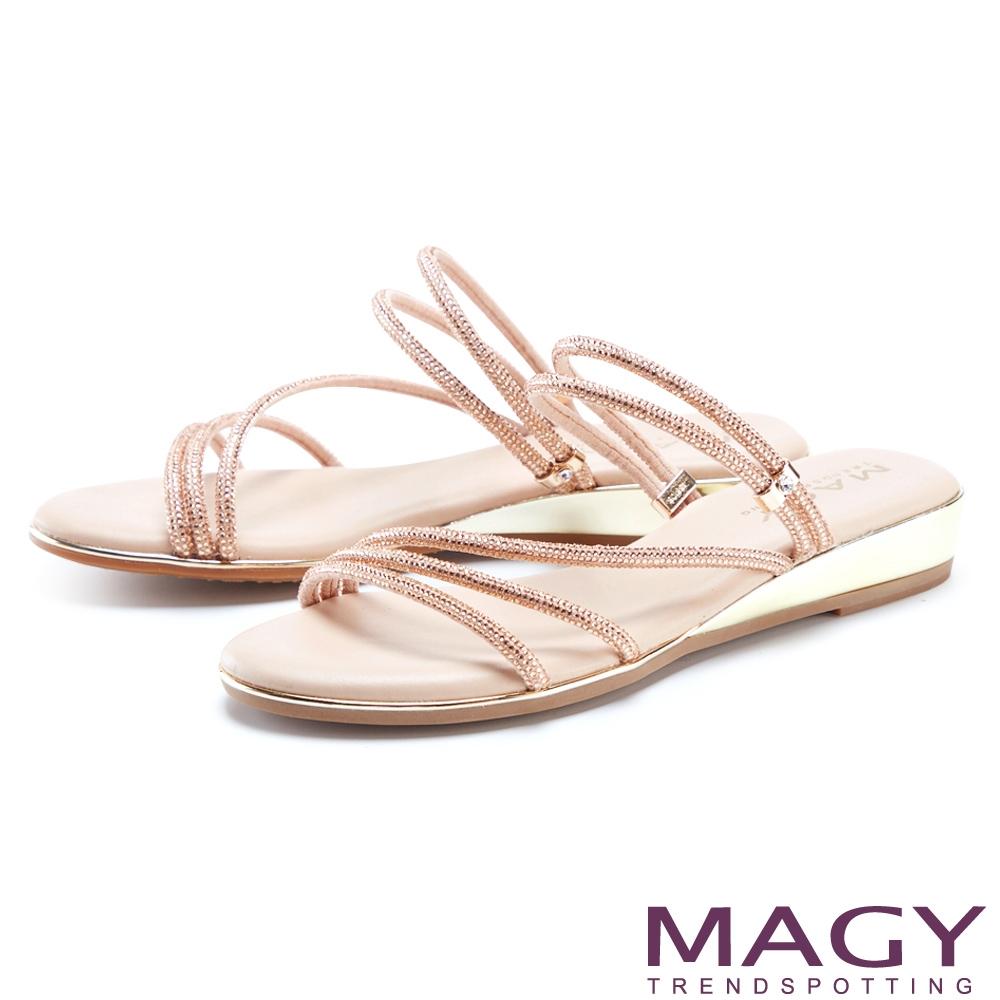 MAGY 細緻鑽條2穿低跟 女 涼拖鞋 粉色