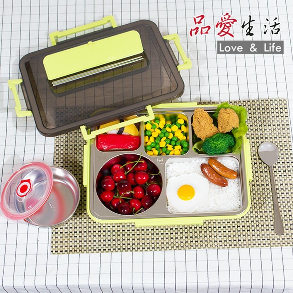 【品愛生活】第二代綠野仙蹤304不繡鋼大容量分隔便當盒(附餐碗)
