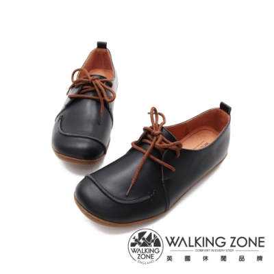 WALKING ZONE(女)皮革綁繩休閒鞋 女鞋-黑(另有薑黃)