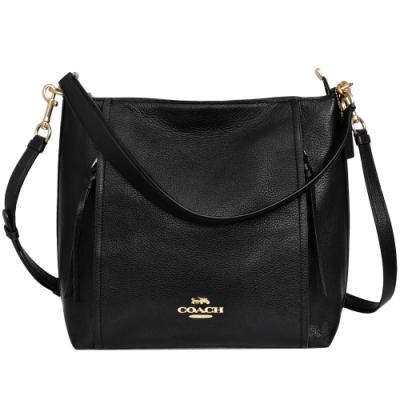 COACH黑色全皮前雙拉鍊袋肩背/斜背兩用方包