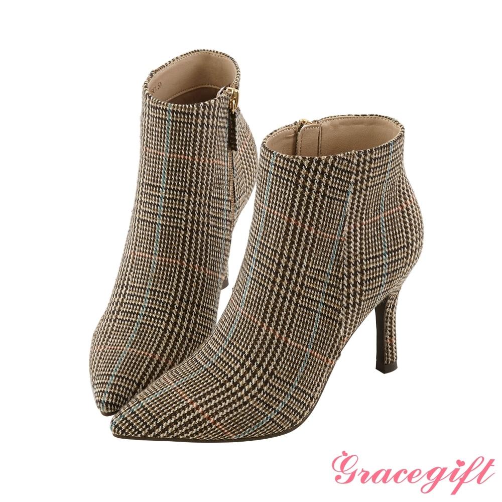 Grace gift X Kerina-聯名素色尖頭細跟靴 咖