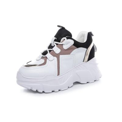 T2R-正韓空運-增高鞋真皮網布撞色隱形內增高厚底老爹鞋-增高10.5公分-黑