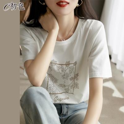 初色  葡萄印花休閒T恤-白色-(M-2XL可選)
