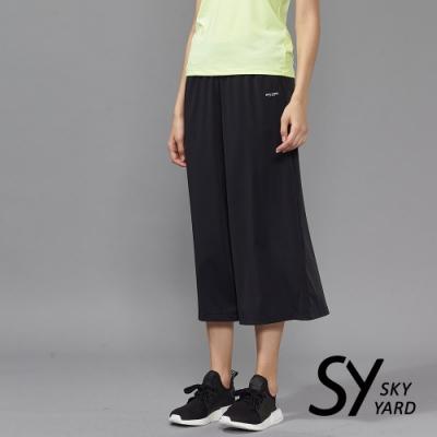 【SKY YARD 天空花園】休閒彈性運動七分寬口褲-黑色
