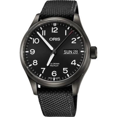 Oris豪利時 Big Crown 日曆星期機械錶-黑/45mm