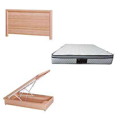 綠活居 羅多3.5尺單人床台三式組合(床頭片+後掀床底+正三線防蹣獨立筒)五色可選