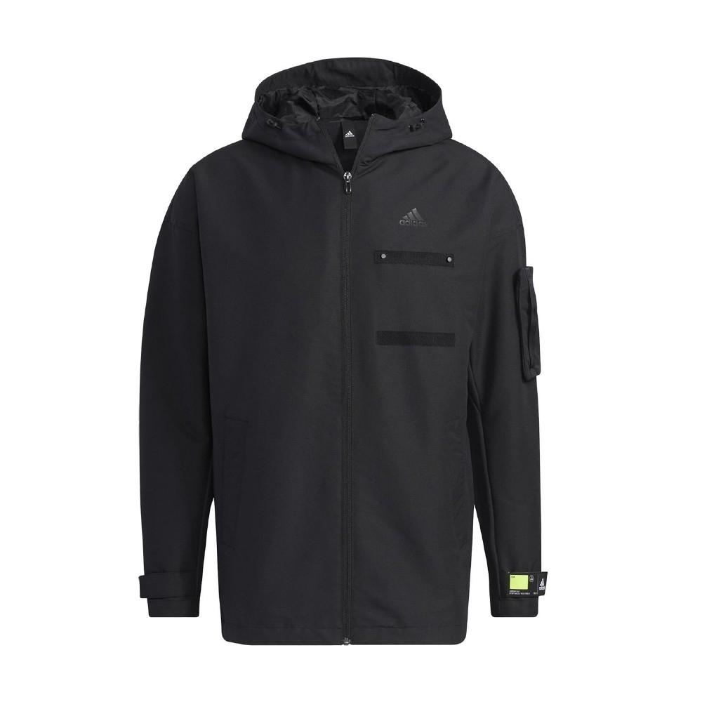 adidas 外套 TH JKT WV CSTM 男款 愛迪達 防風 風衣外套 內刷毛 多口袋 黑 綠 GP0982