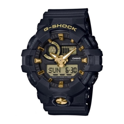G-SHOCK  亮麗金屬感設計運動休閒錶-金(GA-710B-1A9)/53.4