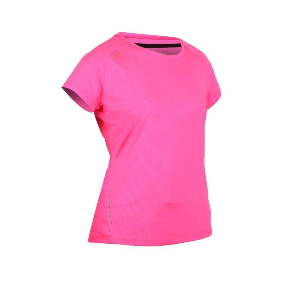 FIRESTAR 女彈性短袖圓領T恤-慢跑 路跑 亮桃紅