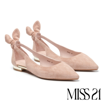 低跟鞋 MISS 21 溫柔小兔耳設計尖頭羊麂皮低跟鞋-粉