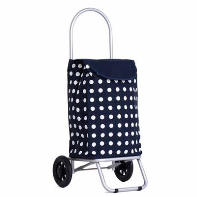 WEEY 輕巧加大靜音輪可拆輪設計載運車 買菜車 購物車(藍白點)29-023D12