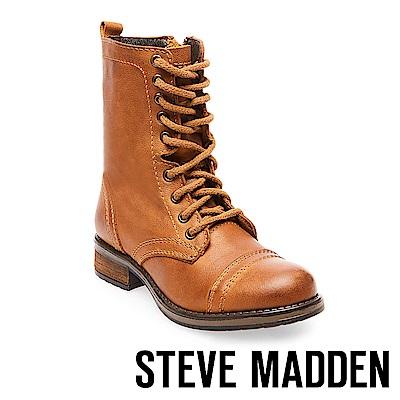 STEVE MADDEN-TROOPA 2.0經典中性軍靴款真皮高筒靴-咖啡