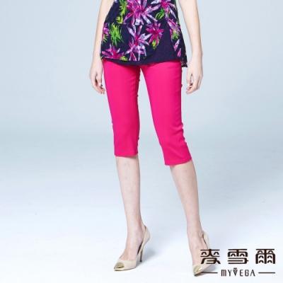 麥雪爾 魅麗造型拉鍊素面棉質七分褲