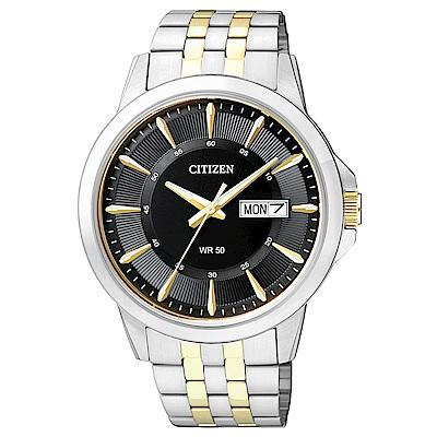 CITIZEN  金燦大氣雙色調石英腕錶(BF2018-52E)-黑/41mm