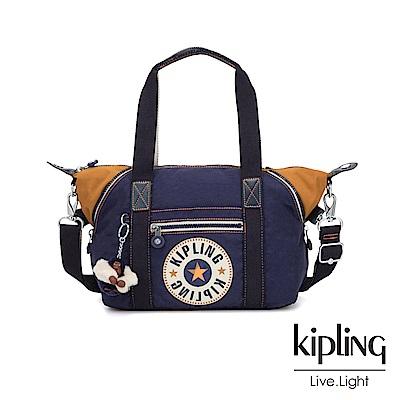 Kipling 致敬經典復古深藍手提側背包-ART MINI