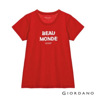 GIORDANO  女裝復古印花短袖T恤 - 31 競賽紅