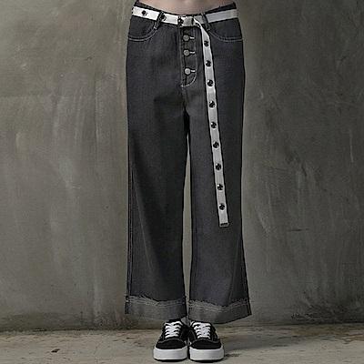 DADA SUPREME 排釦復古反摺牛仔褲-女-灰