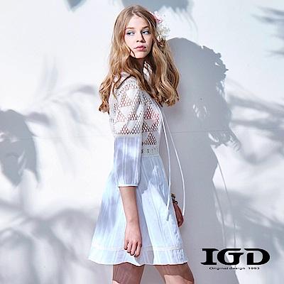 IGD英格麗浪漫純白刺繡簍空蕾絲洋裝
