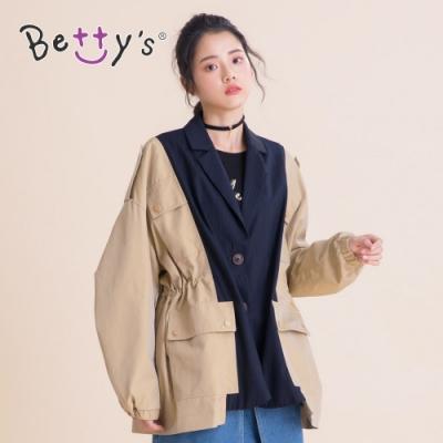 betty's貝蒂思 設計款西裝領拼接休閒外套(卡其)