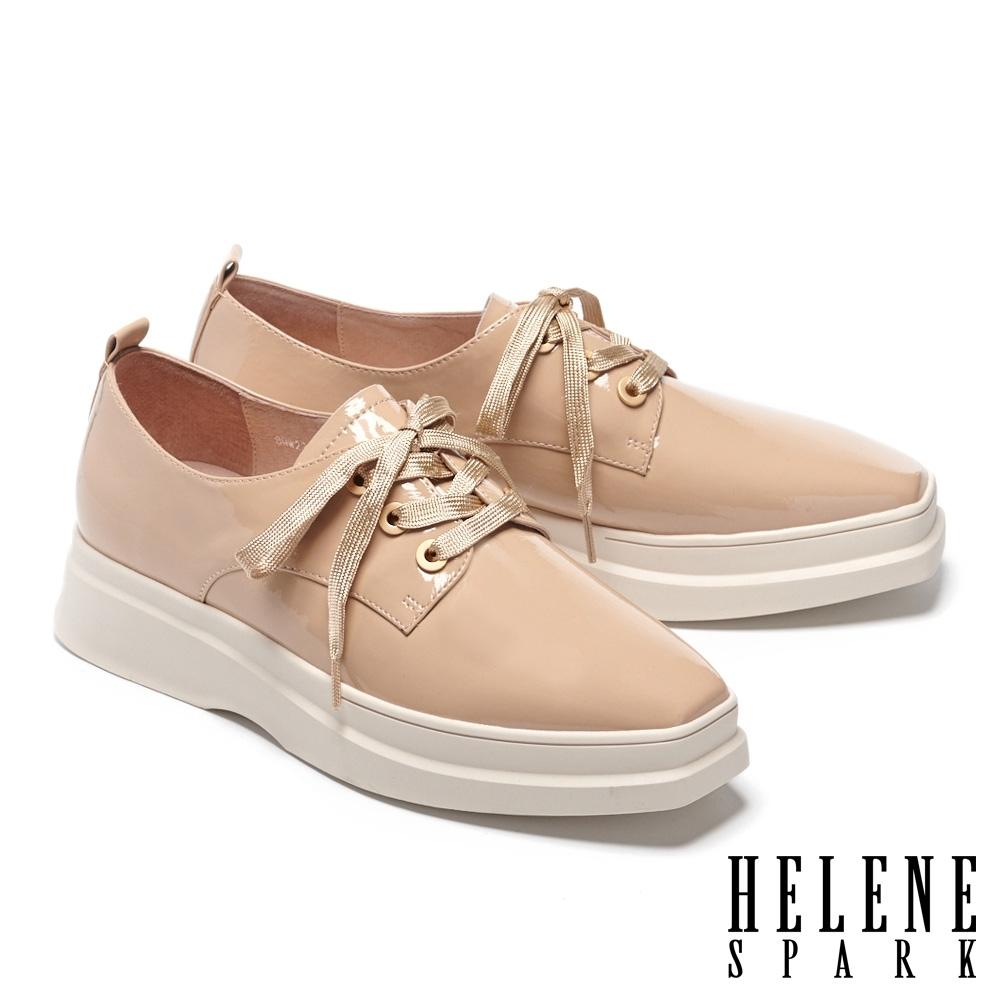 休閒鞋 HELENE SPARK 潮流時尚全真皮綁帶造型方頭厚底休閒鞋-米