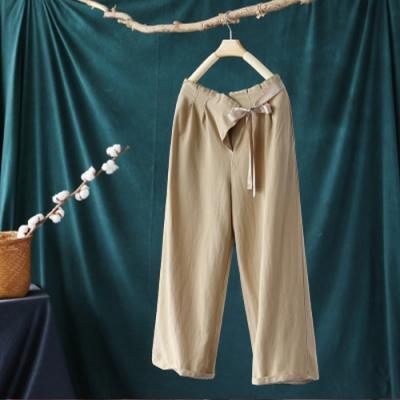 棉麻繫帶寬管褲寬鬆洋氣長褲-設計所在