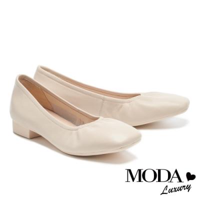 低跟鞋 MODA Luxury 極簡百搭全真皮方圓頭粗低跟鞋-米白