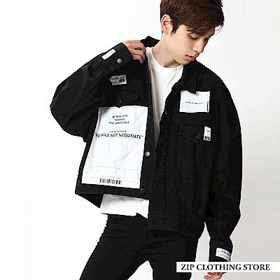 黑色丹寧寬版外套(1色) ZIP日本男裝