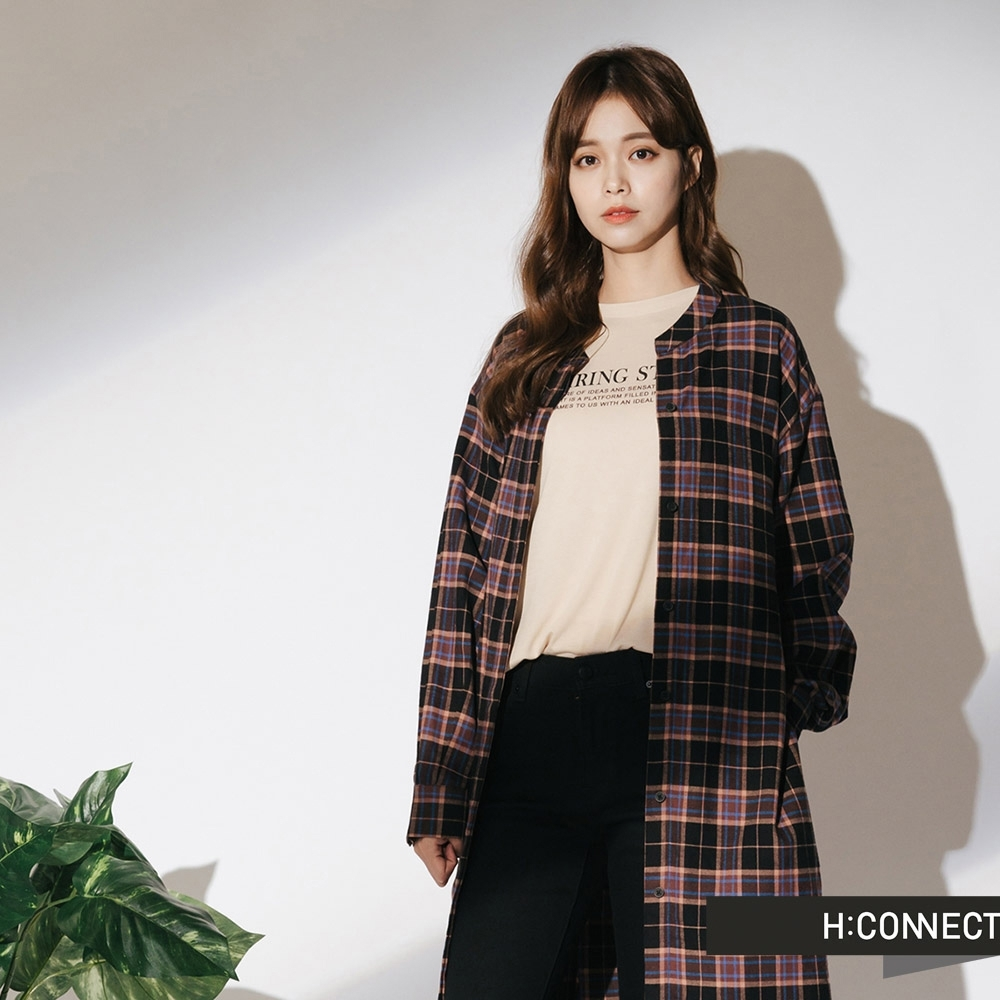 H:CONNECT 韓國品牌 女裝-綁帶造型長版格紋襯衫-黑