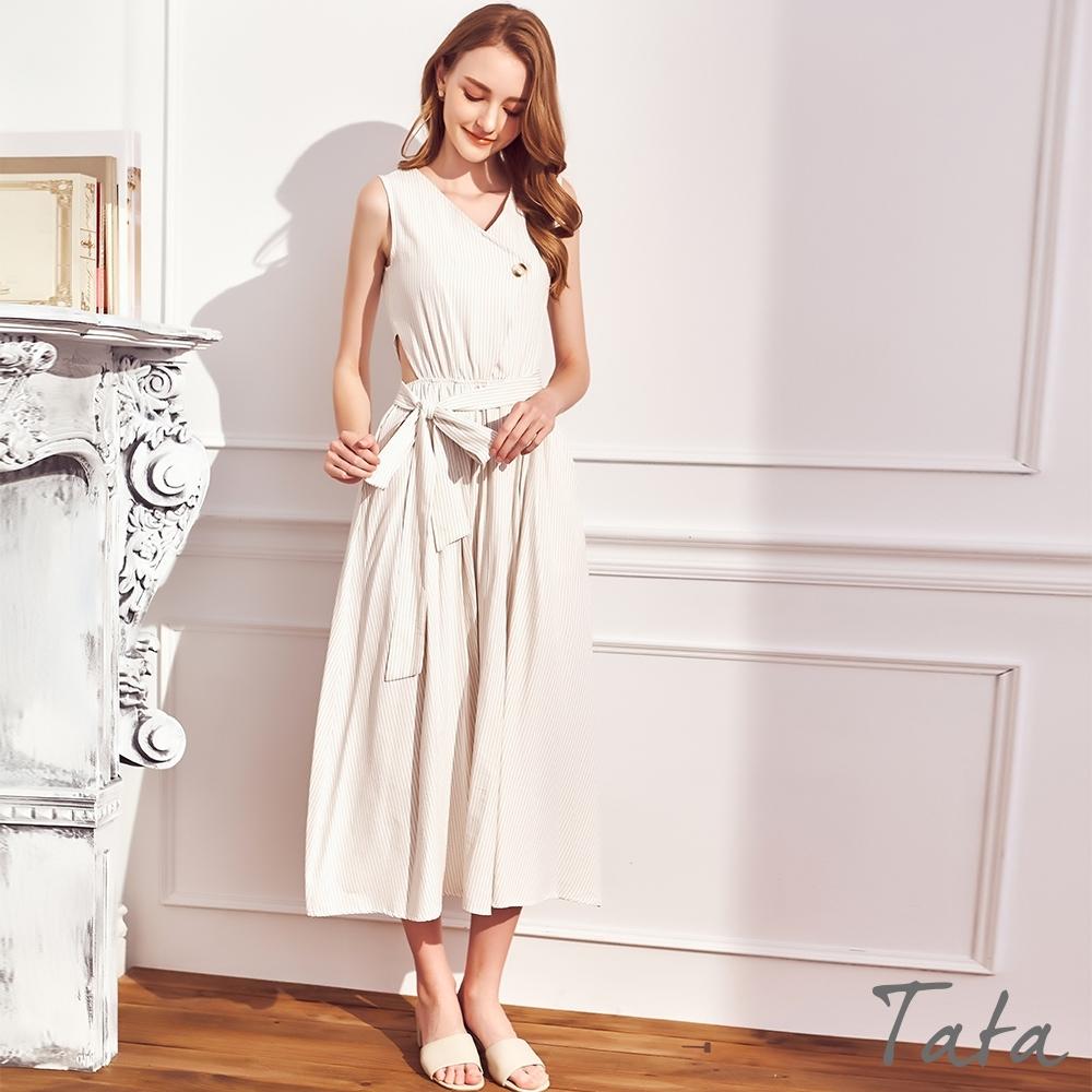 V領鬆緊腰直條紋綁帶洋裝 共二色 TATA-F