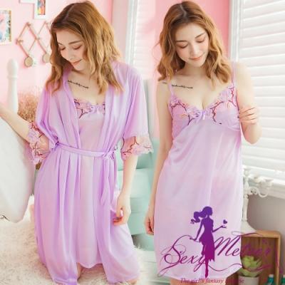 睡衣 全尺碼 V領睡裙+網紗繡花罩衫睡袍二件式睡衣組(迷人淺紫) Sexy Meteor