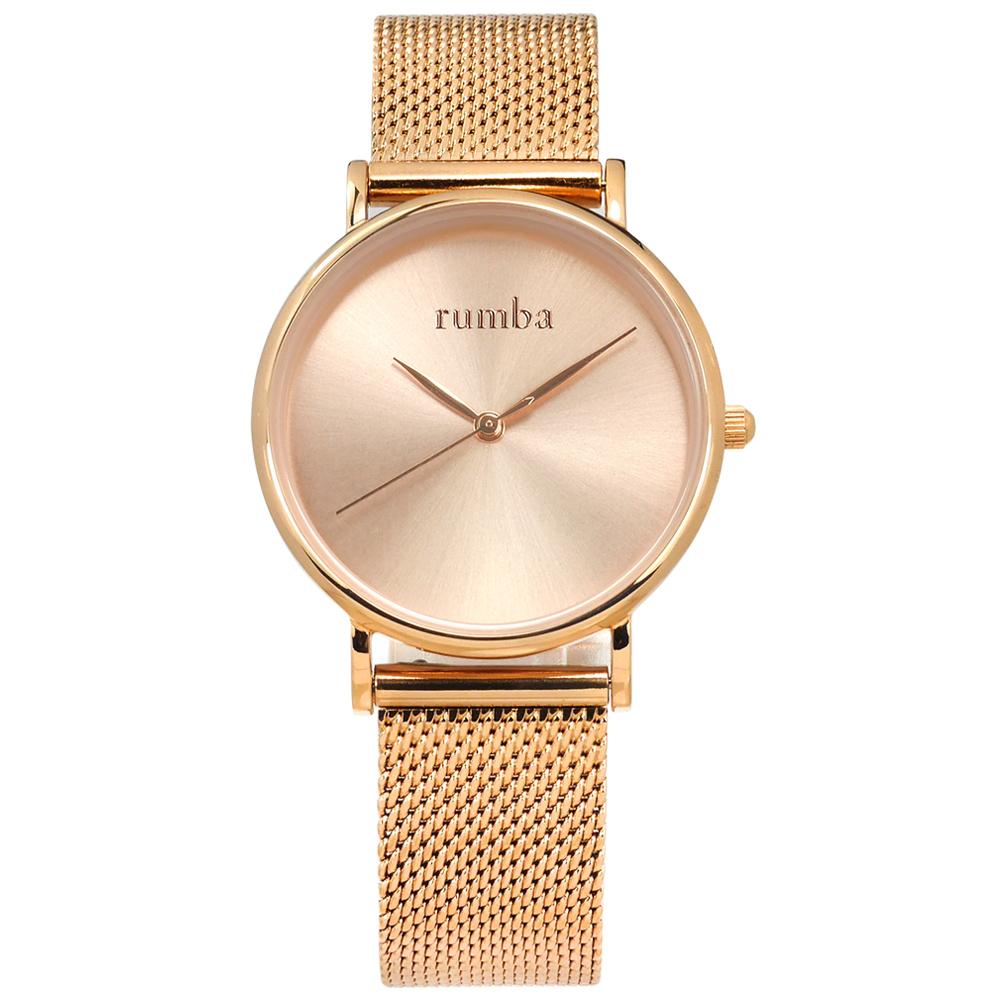 rumba time 紐約品牌 簡約 米蘭編織不鏽鋼手錶-鍍玫瑰金/32mm