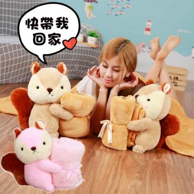 可愛松鼠抱枕毯 珊瑚毯 被子 娃娃 玩偶 空調毯 毛毯